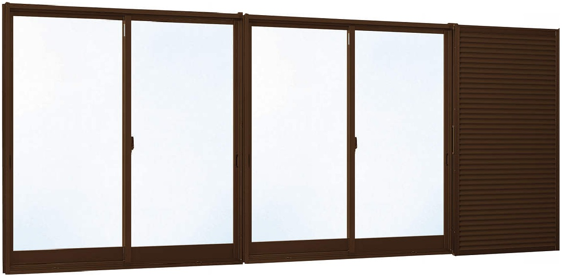 YKKAP窓サッシ 引き違い窓 エピソード[Low-E複層防犯ガラス] 4枚建[雨戸付] 半外付型[Low-E透明5mm+合わせ透明7mm]:[幅2600mm×高1370mm]