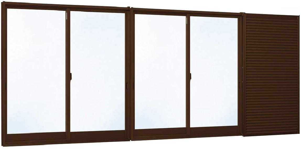 【楽天カード分割】 半外付型[Low-E透明4mm+合わせ透明7mm]:[幅3510mm×高2230mm]:ノース&ウエスト 4枚建[雨戸付] 引き違い窓 YKKAP窓サッシ エピソード[Low-E複層防犯ガラス]-木材・建築資材・設備