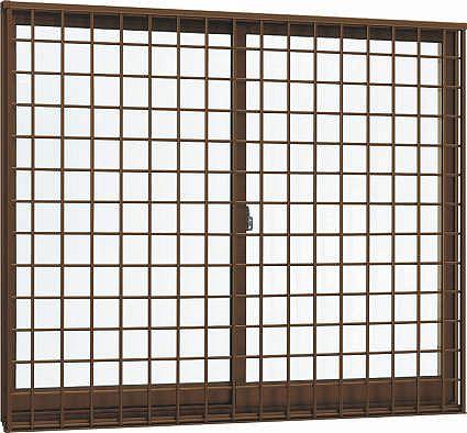 YKKAP窓サッシ 引き違い窓 エピソード[複層防音ガラス] 2枚建[面格子付] 井桁格子[半外付型][透明5mm+透明3mm]:[幅640mm×高570mm]