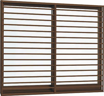YKKAP窓サッシ 引き違い窓 エピソード[複層防音ガラス] 2枚建[面格子付] 横格子[半外付型][透明4mm+透明3mm]:[幅1370mm×高570mm]