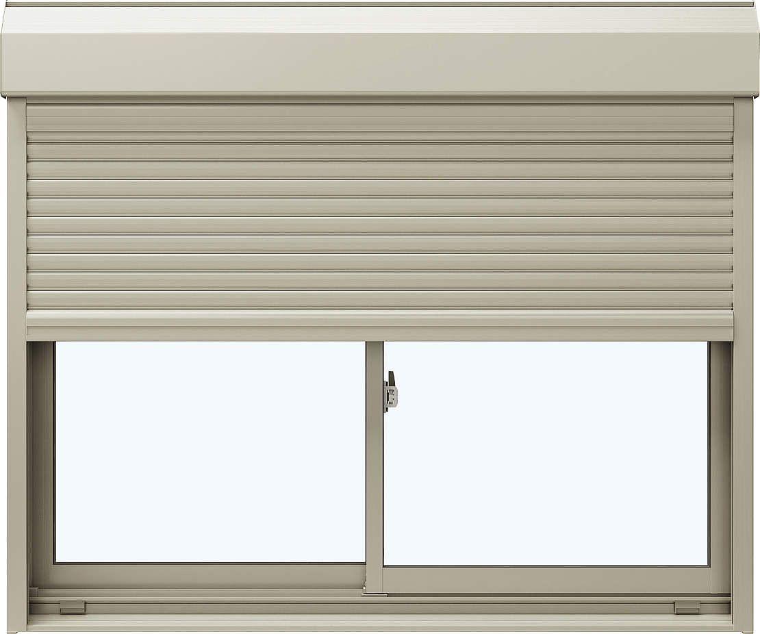 YKKAP窓サッシ 引き違い窓 エピソード[複層防音ガラス] 2枚建[シャッター付] スチール耐風[半外付][透明5mm+透明4mm]:[幅1690mm×高770mm]