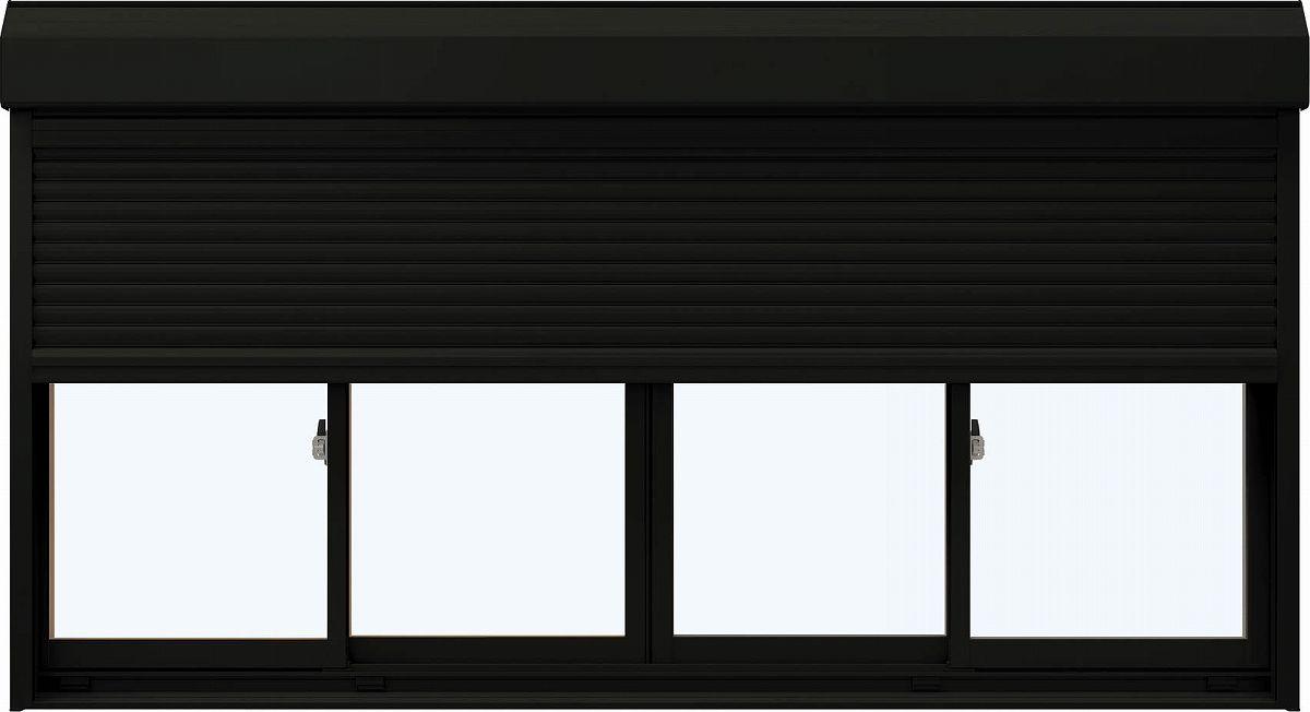 YKKAP窓サッシ 引き違い窓 エピソード[複層防音ガラス] 4枚建[シャッター付] スチール耐風[半外付][透明5mm+透明3mm]:[幅2550mm×高1370mm]
