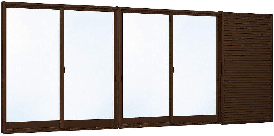 格安人気 エピソード[複層防音ガラス] 半外付型[透明4mm+透明3mm]:[幅2600mm×高2230mm]:ノース&ウエスト 4枚建[雨戸付] YKKAP窓サッシ 引き違い窓-木材・建築資材・設備