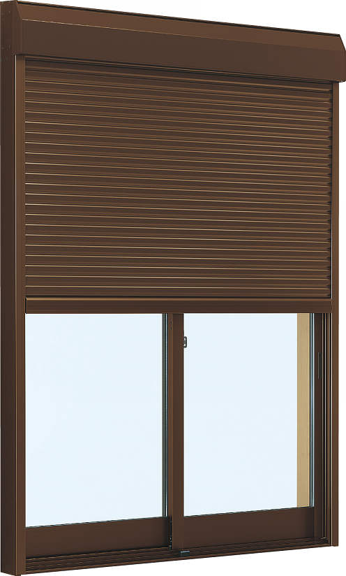 YKKAP窓サッシ 引き違い窓 フレミングJ[Low-E複層ガラス] 2枚建[シャッター付] スチール耐風[外付型]:[幅1722mm×高903mm]
