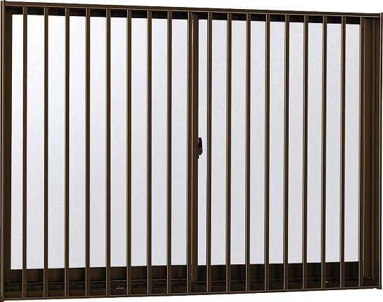 YKKAP窓サッシ 引き違い窓 フレミングJ[複層防犯ガラス] 2枚建[面格子付] 縦格子[半外付型][透明3mm+合わせ透明7mm]:[幅1235mm×高770mm]