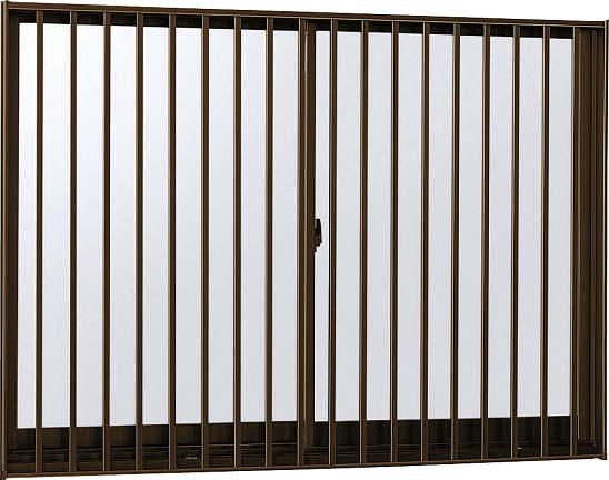 YKKAP窓サッシ 引き違い窓 フレミングJ[複層防犯ガラス] 2枚建[面格子付] 縦格子[半外付型][型4mm+合わせ透明7mm]:[幅730mm×高970mm]