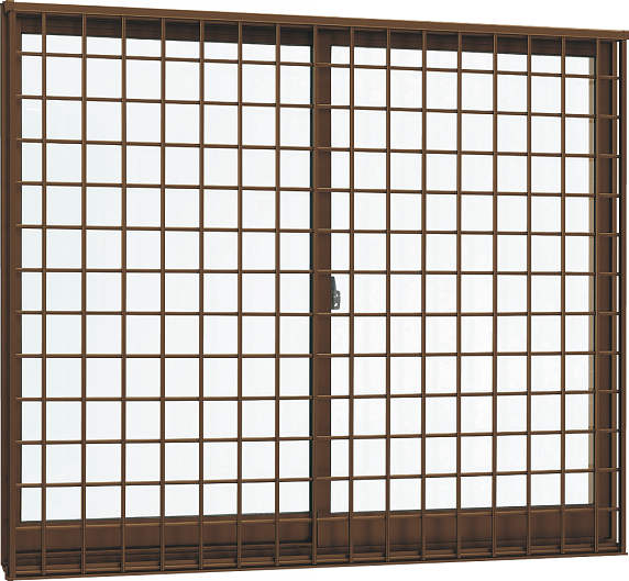 YKKAP窓サッシ 引き違い窓 フレミングJ[複層防犯ガラス] 2枚建[面格子付] 井桁格子[半外付型]透明4mm+合わせ透明7mm:[幅1370mm×高970mm]
