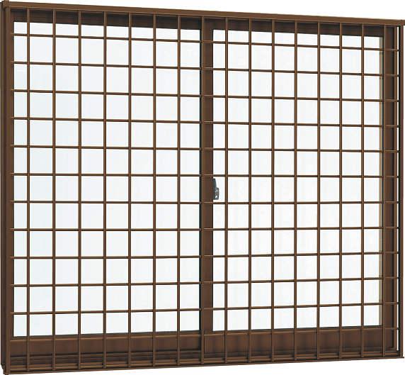 YKKAP窓サッシ引き違い窓フレミングJ[複層防犯ガラス]2枚建[面格子付]井桁格子[半外付型]型4mm+合わせ透明7mm:[幅1800mm×高1370mm]