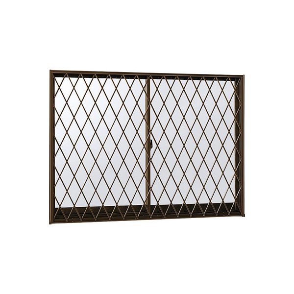 YKKAP窓サッシ 引き違い窓 フレミングJ[複層防犯ガラス] 2枚建[面格子付] ラチス格子[半外付]型4mm+合わせ透明7mm:[幅730mm×高1170mm]