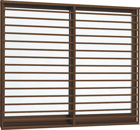 YKKAP窓サッシ 引き違い窓 フレミングJ[複層防犯ガラス] 2枚建[面格子付] 横格子[半外付型][透明5mm+合わせ透明7mm]:[幅1690mm×高1370mm]