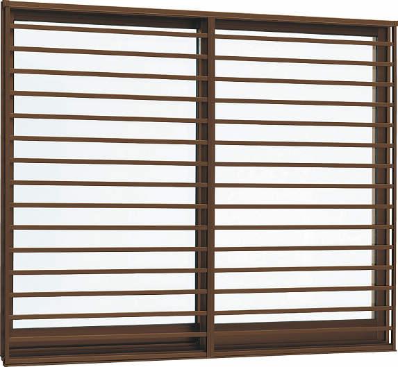 YKKAP窓サッシ 引き違い窓 フレミングJ[複層防犯ガラス] 2枚建[面格子付] 横格子[半外付型][型4mm+合わせ透明7mm]:[幅640mm×高770mm]