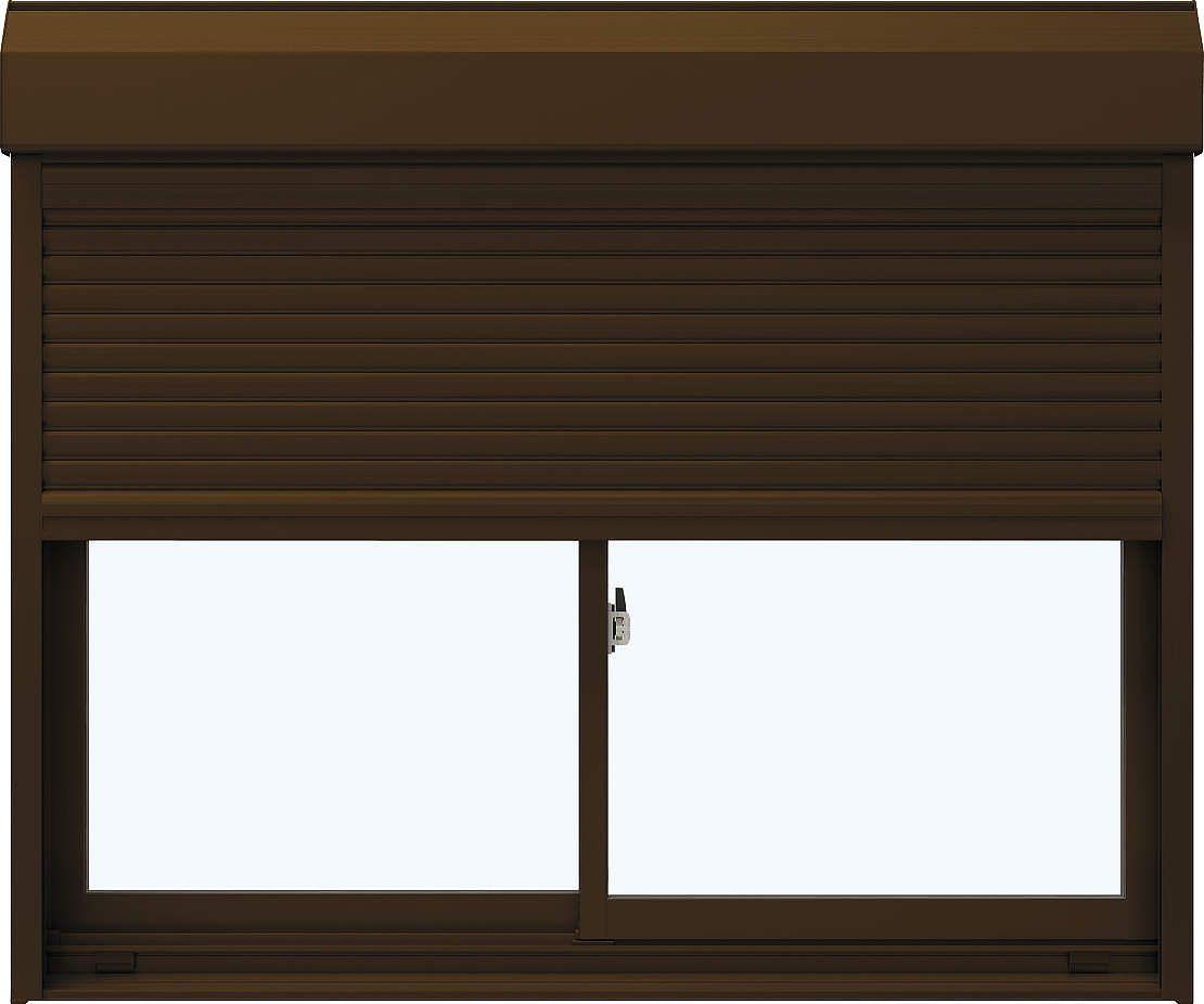 YKKAP窓サッシ 引き違い窓 エピソード[Low-E複層ガラス] 2枚建[シャッター付] スチール[半外付型]:[幅1820mm×高970mm]