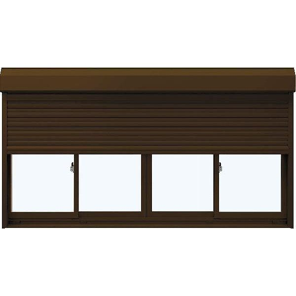 【代引可】 フレミングJ[複層防犯ガラス] 引き違い窓 スチール[2×4工法]型4mm+合わせ透明7mm:[幅2470mm×高2245mm]:ノース&ウエスト 4枚建[シャッター付] YKKAP窓サッシ-木材・建築資材・設備