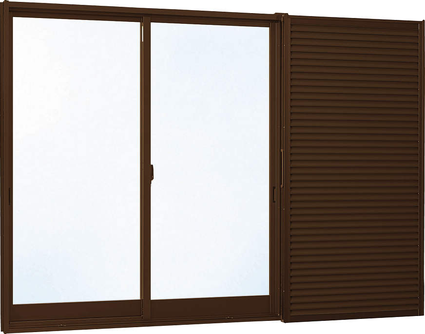 YKKAP窓サッシ 引き違い窓 フレミングJ[複層防犯ガラス] 2枚建[雨戸付] 半外付型[透明4mm+合わせ透明7mm]:[幅1370mm×高1170mm]