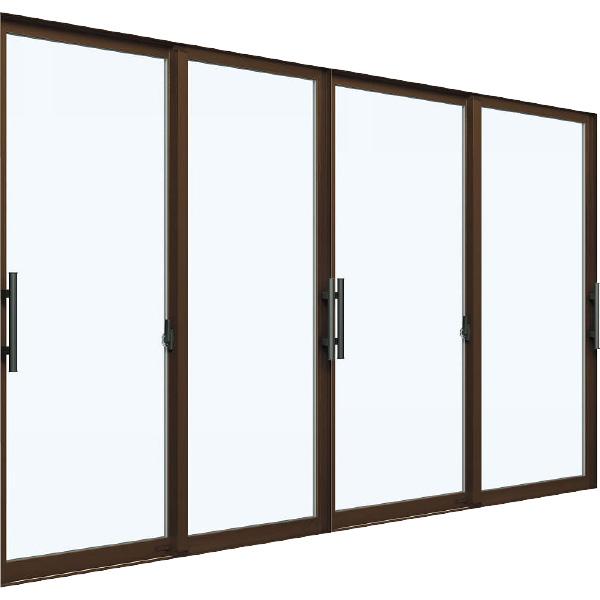 YKKAP窓サッシ 引き違い窓 エピソード[Low-E複層ガラス] 4枚建[下枠ノンレール] 大型引手[キックプレート無]:[幅3510mm×高2230mm]【窓サッシ】【断熱サッシ】【フラットレール】