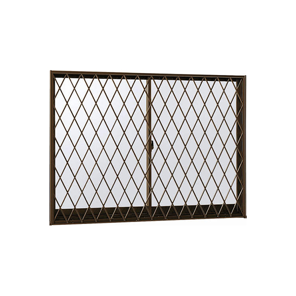 YKKAP窓サッシ 引き違い窓 エピソード[複層防犯ガラス] 2枚建[面格子付] ラチス格子[半外付]透明5mm+合わせ透明7mm:[幅1235mm×高370mm]