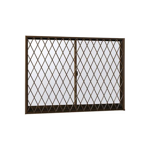 YKKAP窓サッシ 引き違い窓 エピソード[複層防犯ガラス] 2枚建[面格子付] ラチス格子[半外付]型4mm+合わせ透明7mm:[幅1370mm×高770mm]