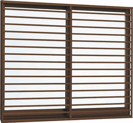 YKKAP窓サッシ 引き違い窓 エピソード[複層防犯ガラス] 2枚建[面格子付] 横格子[半外付型][透明3mm+合わせ透明7mm]:[幅730mm×高770mm]
