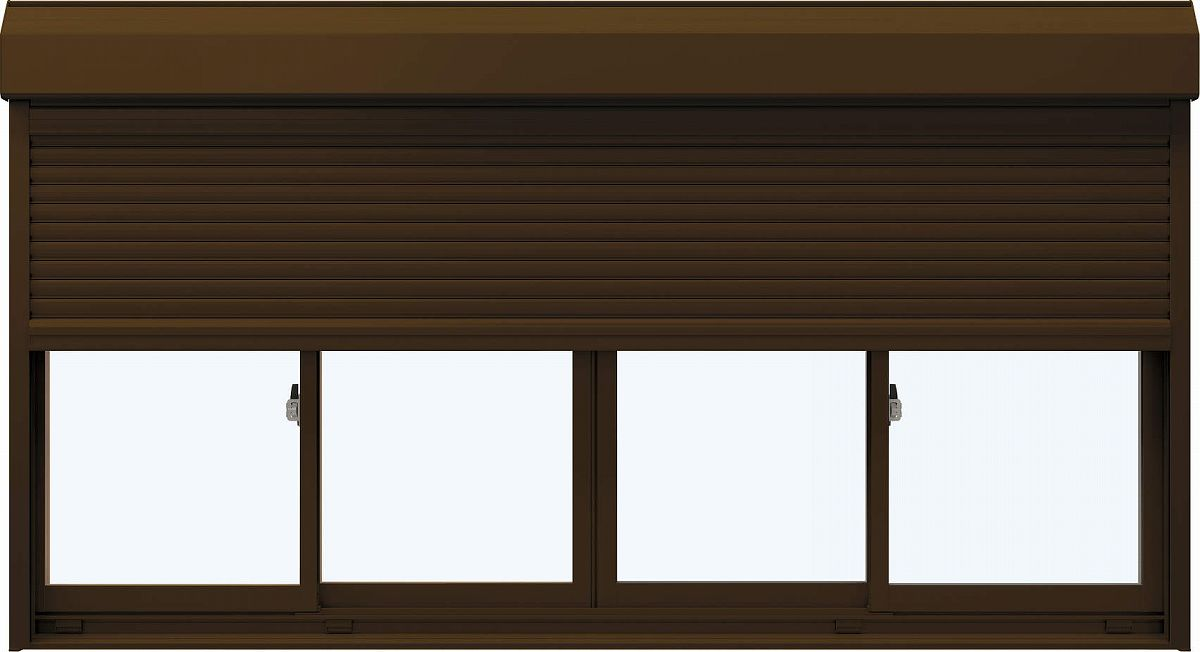 YKKAP窓サッシ 引き違い窓 エピソード[複層防犯ガラス] 4枚建[シャッター付] スチール[外付型]透明3mm+合わせ透明7mm:[幅2632mm×高1103mm]