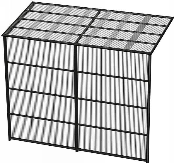 YKKAPウォールエクステリア 囲い ストックヤードII 積雪~20cm地域用 基本セット[H=9尺]:奥行1145mm[幅3660mm×高2785mm]【YKK】【波板囲い】【簡易物置】【壁付け施工】