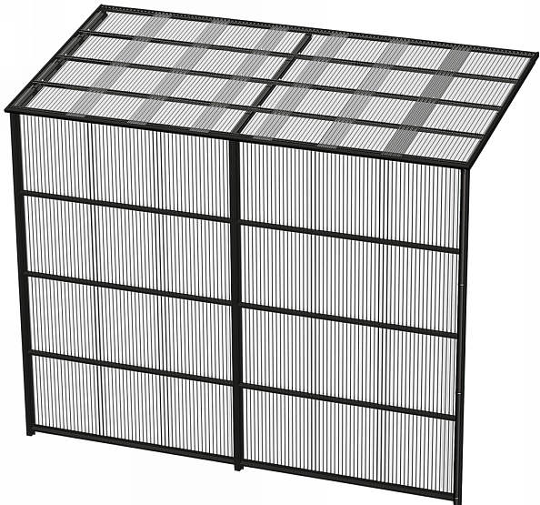 YKKAPウォールエクステリア 囲い ストックヤードII 積雪~50cm地域用 基本セット[H=7尺]:奥行1445mm[幅5490mm×高2175mm]【YKK】【波板囲い】【簡易物置】【壁付け施工】