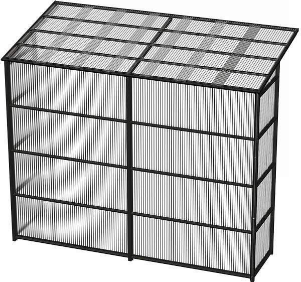 YKKAPウォールエクステリア 囲い ストックヤードII 積雪~20cm地域用 両袖セット[H=9尺]:奥行1445mm[幅3660mm×高2785mm]【YKK】【波板囲い】【簡易物置】【壁付け施工】