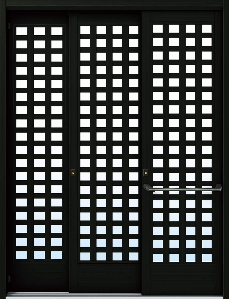 YKKAP玄関 断熱玄関引戸 れん樹[大開口引戸] 6尺袖付2枚建[車いす配慮仕様] Y03[アルミ色]:複層ガラス[幅1640mm×高2230mm]【ykk】【YKK玄関引き戸】【バリアフリ-】【玄関ドア引戸】【車いす対応】