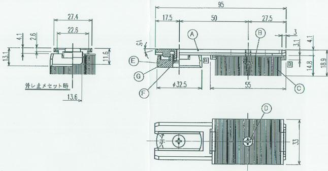 YKKAPオプション窓サッシ引き違い窓フレミングJ:砂埃対応部品[2枚建て用]