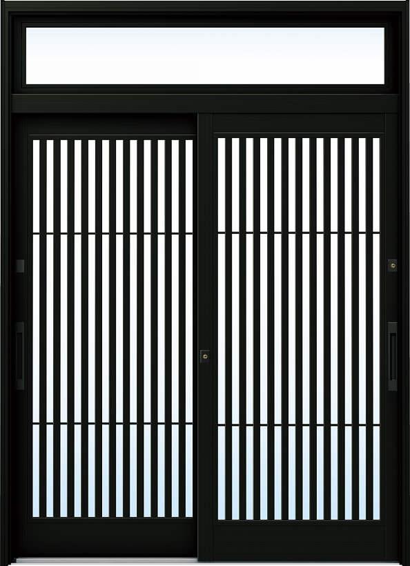 YKKAP玄関 リフォーム玄関引戸 ドアリモ[伝統和風] A02[ランマ付] アルミ色[複層ガラス]:【YKK】【ドアリモ】【玄関引き戸】【取替】【交換】【DIY】【玄関リフォーム】