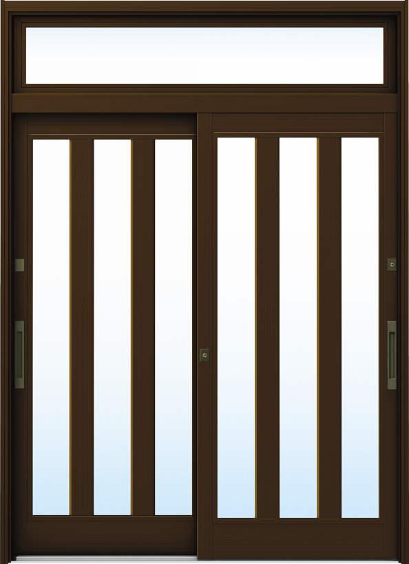 YKKAP玄関 リフォーム玄関引戸 ドアリモ[伝統和風] A07[ランマ付] アルミ色[単板ガラス]:【YKK】【ドアリモ】【玄関引き戸】【取替】【交換】【DIY】【玄関リフォーム】