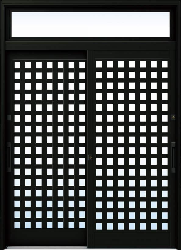 YKKAP玄関 リフォーム玄関引戸 ドアリモ[伝統和風] A11[ランマ付] アルミ色[単板ガラス]:【YKK】【ドアリモ】【玄関引き戸】【取替】【交換】【DIY】【玄関リフォーム】