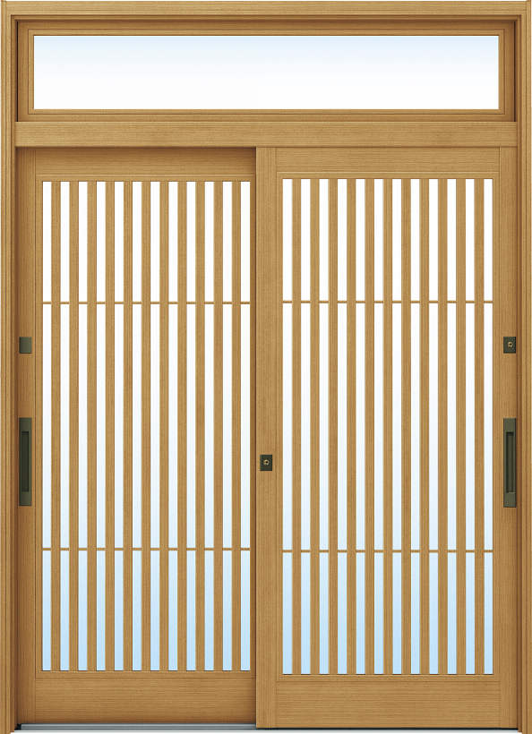 YKKAP玄関 リフォーム玄関引戸 ドアリモ[伝統和風] A02[ランマ付] 木目柄[単板ガラス]:【YKK】【ドアリモ】【玄関引き戸】【取替】【交換】【DIY】【玄関リフォーム】