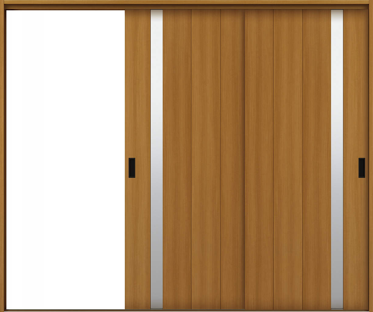 YKKAP室内引戸 ラフォレスタ[スタイリッシュ][木目たて] 2枚片引き戸 T61 ケーシング枠:[幅2433mm×高2033mm]