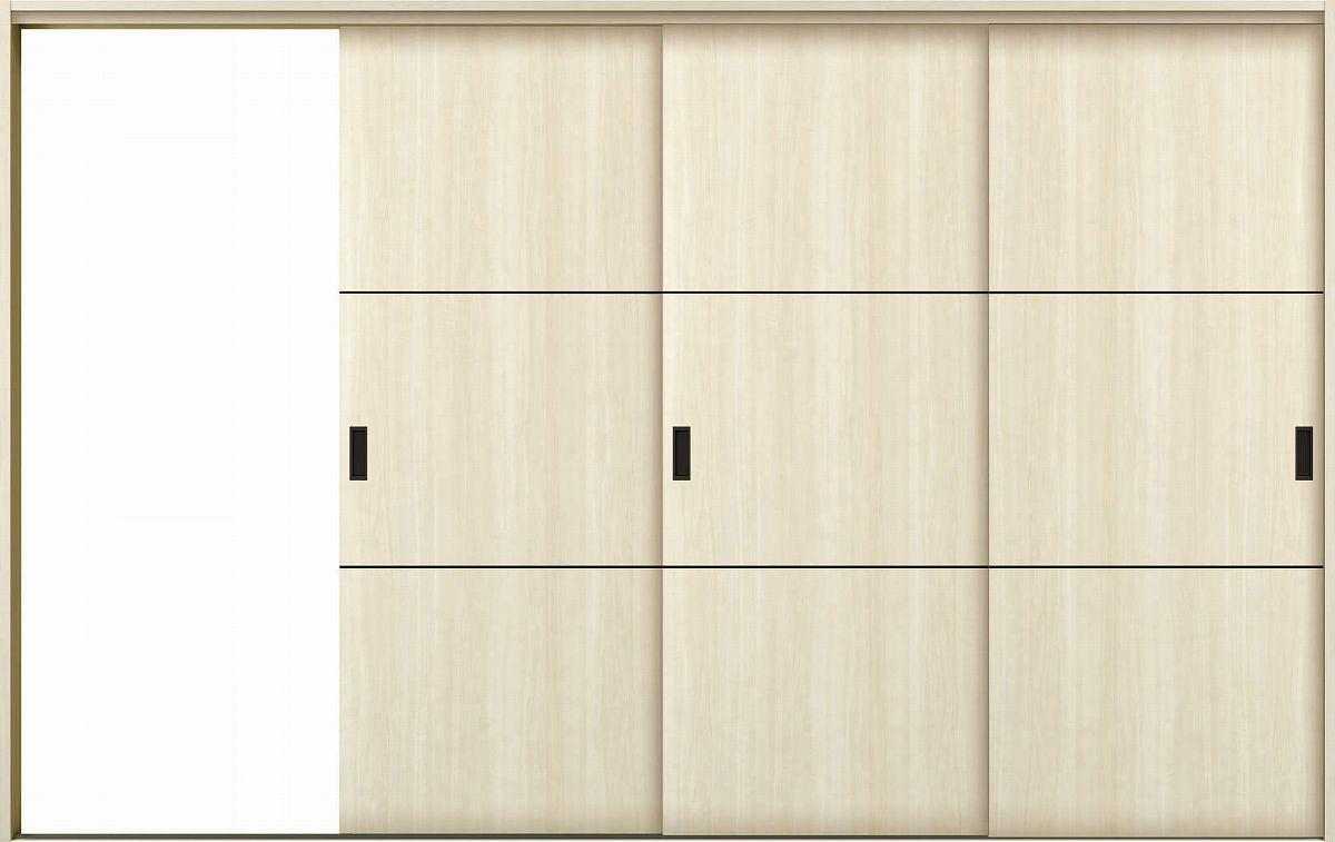 YKKAP室内引戸 ラフォレスタ[スタイリッシュ][木目たて] 3枚片引き戸 T10 ノンケーシング枠:[幅3222mm×高2033mm]