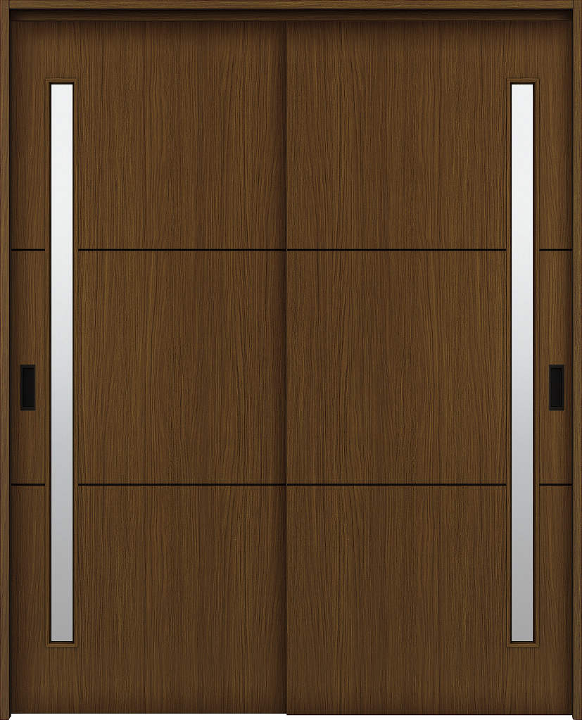 YKKAP室内引戸 ラフォレスタ[スタイリッシュ][木目たて] 2枚引き違い戸 T60 ノンケーシング枠[集合住宅向け]:[幅1643mm×高2033mm]