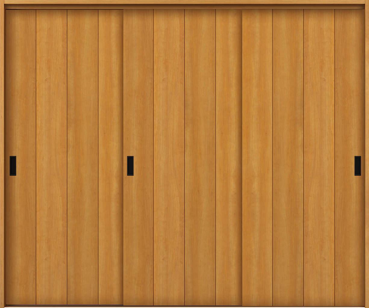 YKKAP室内引戸 ラフォレスタ[スタイリッシュ][木目たて] 3枚引き違い戸 T11 ノンケーシング枠:[幅2433mm×高2033mm]