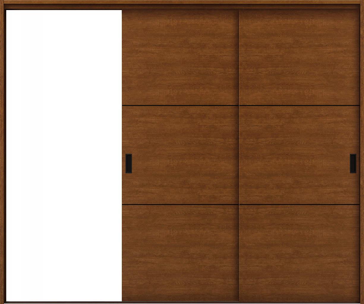 YKKAP室内引戸 ラフォレスタ[スタイリッシュ][木目横] 2枚片引き戸 Y10 ケーシング枠:[幅2433mm×高2033mm]