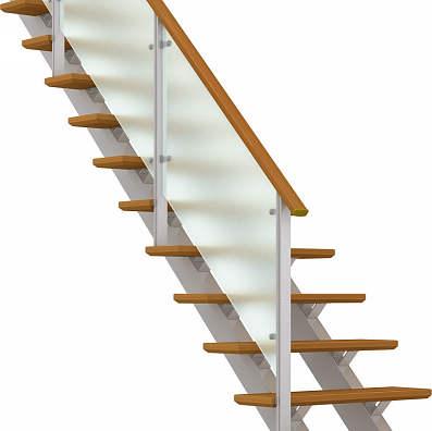 YKKAPアルミインテリア オープンリビング階段 桁タイプ[直線階段] 片側手すり ドットポイント: 上り切り 7段[幅1158~1260mm×高1351~1470mm]