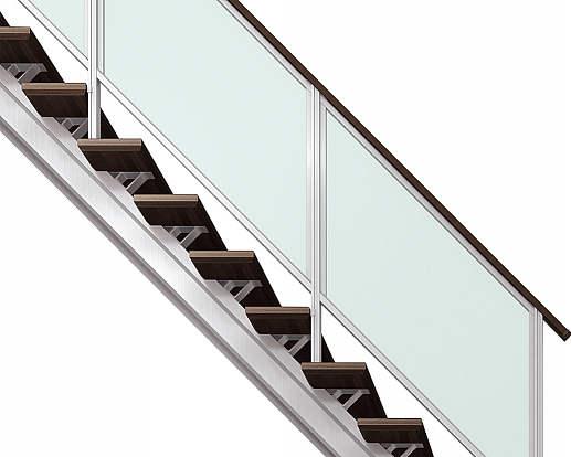 YKKAPアルミインテリア オープンリビング階段 桁タイプ[直線階段] 片側手すり フレーム: 上り切り 16段[幅2954~3150mm×高3151~3360mm]