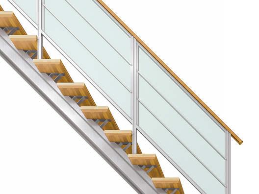 YKKAPアルミインテリア オープンリビング階段 桁タイプ[直線階段] 片側手すり 横格子: 上り切り 7段[幅1158~1260mm×高1351~1470mm]