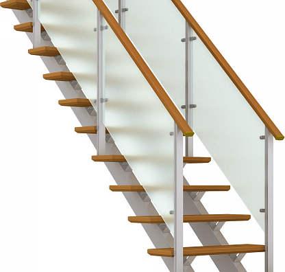 YKKAPアルミインテリア オープンリビング階段 桁タイプ[直線階段] 両側手すり ドットポイント: 上り切り 5段[幅772~840mm×高965~1050mm]