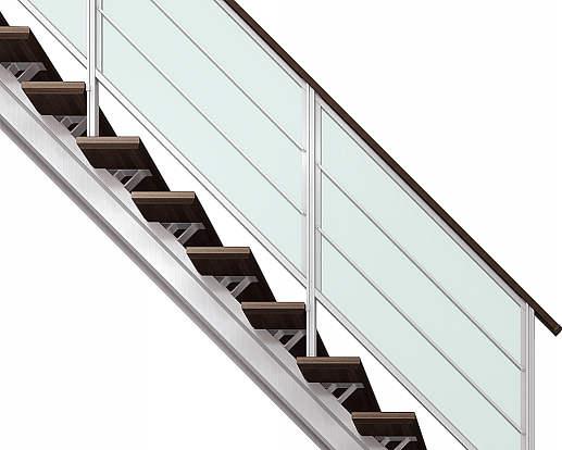 日本製 YKKAPアルミインテリア オープンリビング階段 桁タイプ 直線階段 両側手すり 9段 買収 横格子: 上り切り 幅1544~1680mm×高1737~1890mm