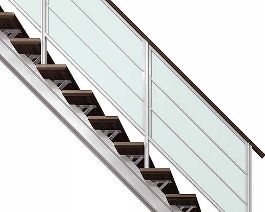YKKAPアルミインテリア オープンリビング階段 桁タイプ[直線階段] 両側手すり 横格子: 上り切り 6段[幅965~1050mm×高1158~1260mm]