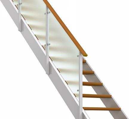 YKKAPアルミインテリア オープンリビング階段 側板タイプ[直線階段] 片側手すり ドットポイント: 上り切り 8段[幅1351~1470mm×高1544~1680mm]