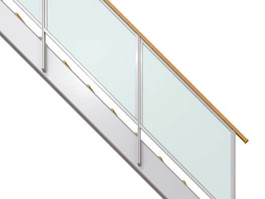 YKKAPアルミインテリア オープンリビング階段 側板タイプ[直線階段] 片側手すり フレーム: 上り切り 10段[幅1737~1890mm×高1930~2100mm]