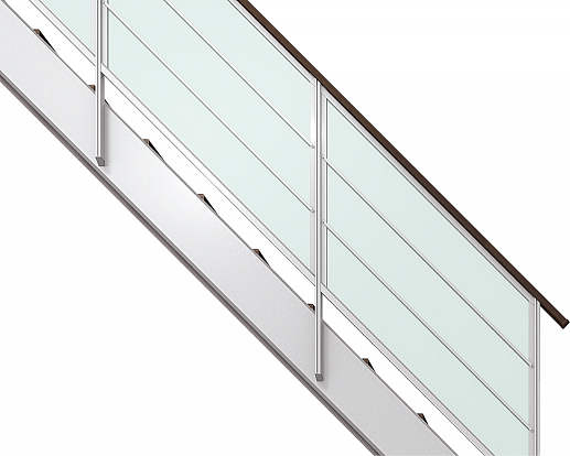 YKKAPアルミインテリア オープンリビング階段 側板タイプ[直線階段] 片側手すり 横格子: 上り切り 9段[幅1544~1680mm×高1737~1890mm]