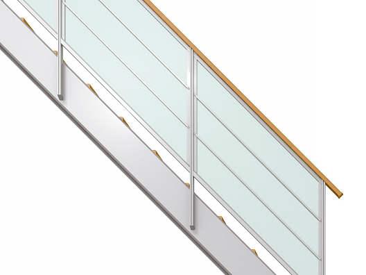 YKKAPアルミインテリア オープンリビング階段 側板タイプ[直線階段] 両側手すり 横格子: 上り切り 6段[幅965~1050mm×高1158~1260mm]
