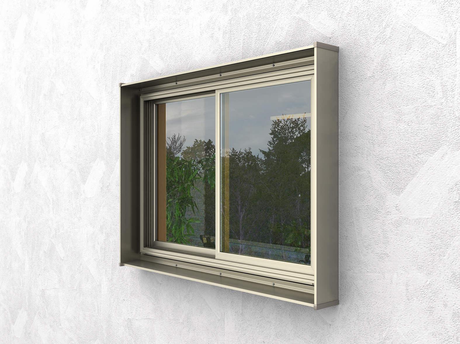 注目のブランド 口の字 アルミ色:[幅1745mm×高1532mm]:ノース&ウエスト YKKAP窓まわり キューブシェード ひさし-木材・建築資材・設備