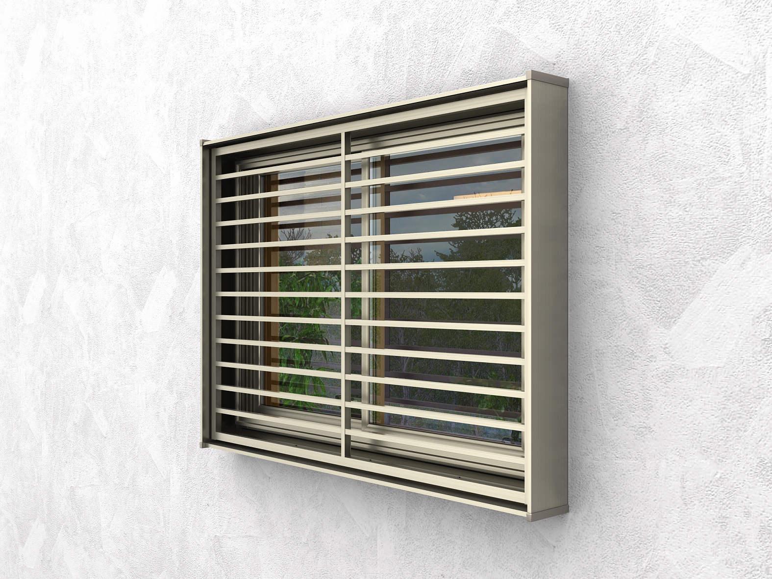好きに 口の字[横格子] YKKAP窓まわり 面格子 アルミ色:[幅1340mm×高532mm]:ノース&ウエスト キューブシェード-木材・建築資材・設備
