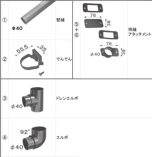 LIXIL補修用部品 TOEXブランド部品 カーポート カーポート雨樋セット 雨樋セット3(カーポート用):雨樋セット[VNU57]